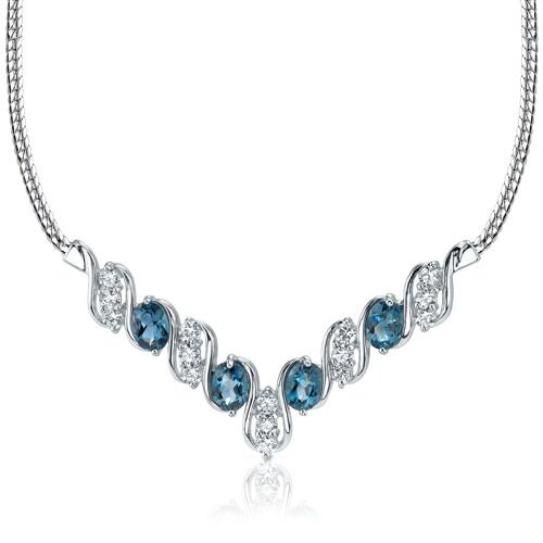 Trendy 4.00 carats Oval Shape London Blue Topaz and White CZ Gemstone Necklace in Sterling ...