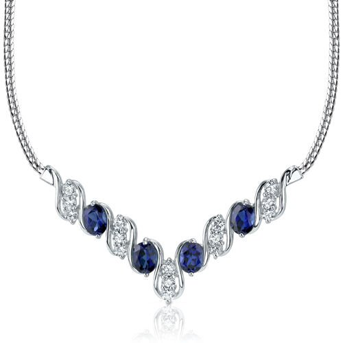 Oravo Trendy 4.00 Carats Oval Shape Created Sapphire and White CZ Pendant Necklace in Sterling Silver