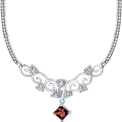 0.75 carats Princess Cut Garnet and White CZ Gemstone Necklace in Sterling Silver