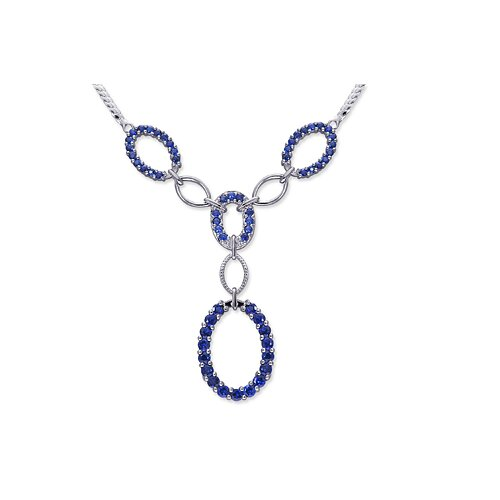 European Style Round Shape Created Sapphire Gemstone Pendant Necklace in Sterling Silver