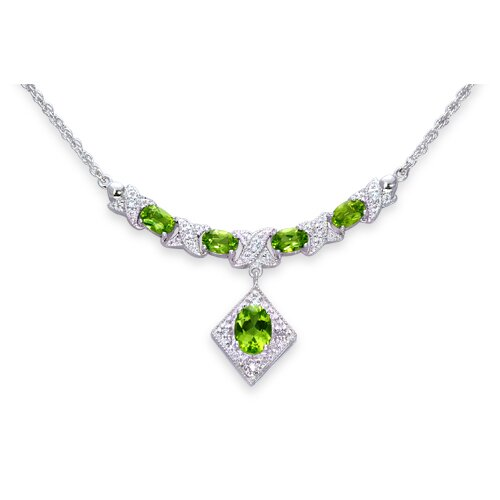 Trendy 3.00 Carats Oval Shape Peridot and White CZ Gemstone Necklace in Sterling Silver