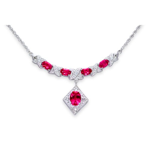 Oravo Oval Shape Created Ruby and White CZ Pendant Necklace in Sterling Silver