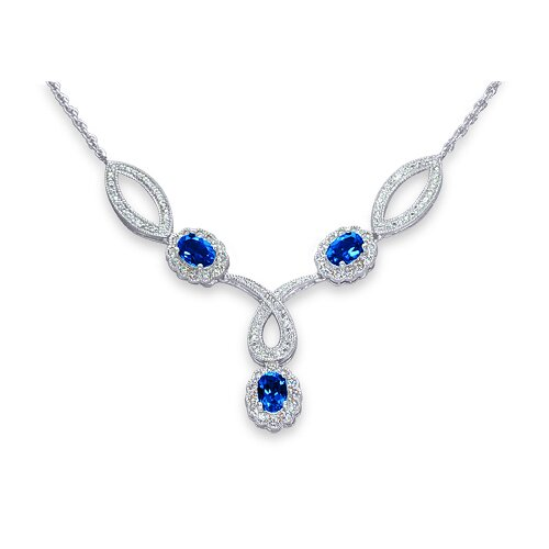 Oravo Antique Style Oval Shape Created Sapphire and White CZ Pendant Necklace in Sterling Silver
