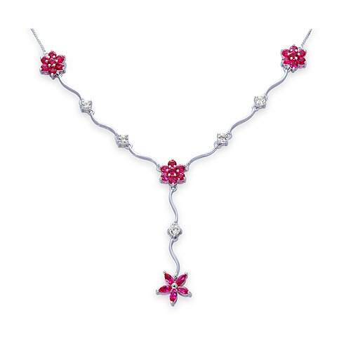 Oravo Classic Beauty Marquise and Round Shape Created Ruby and White CZ Pendant Necklace in Sterling Silver