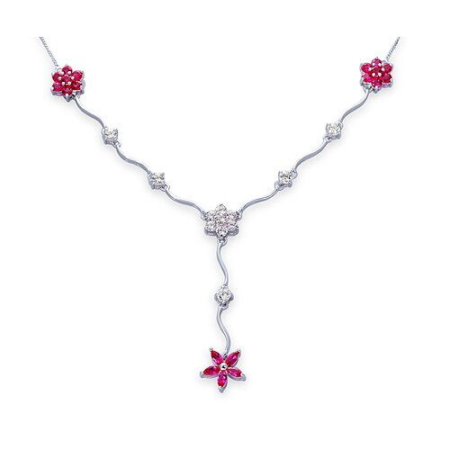 Oravo Classic Beauty Marquise and Round Shape 0.925 Sterling Silver Created Ruby and White CZ Pendant Necklace in Sterling Silver