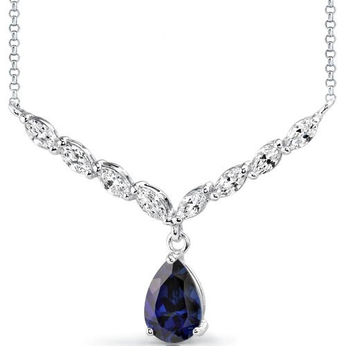 Oravo Luminous Beauty Pear Shape Sapphire and White CZ Gemstone Necklace in Sterling Silver