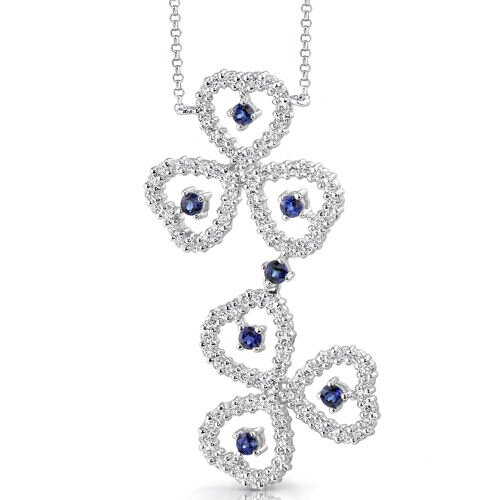 Destined to Dazzle Round Shape Sapphire and White CZ Gemstone Necklace in Sterling Silver