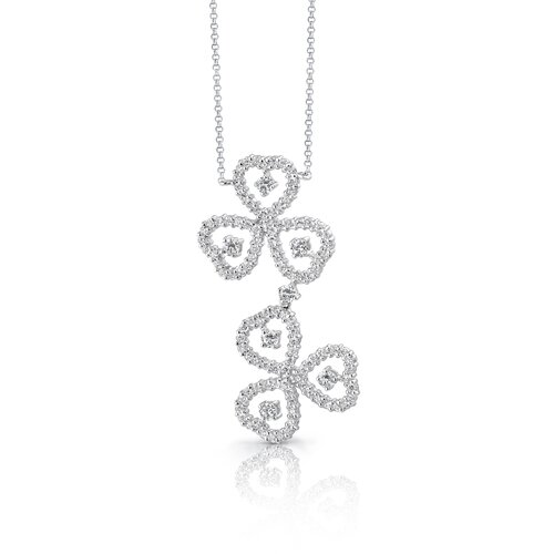 Oravo Destined to Dazzle Round Shape White CZ Gemstone Necklace in Sterling Silver