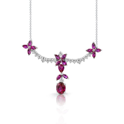 Oravo Glamorous Allure Multishape Ruby and White CZ Gemstone Necklace in Sterling Silver