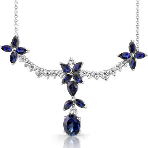 Glamorous Allure Multishape Sapphire and White CZ Gemstone Necklace in Sterling Silver