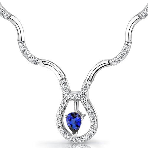 Stunningly Beautiful Pear Shape Sapphire and White CZ Gemstone Necklace in Sterling Silver