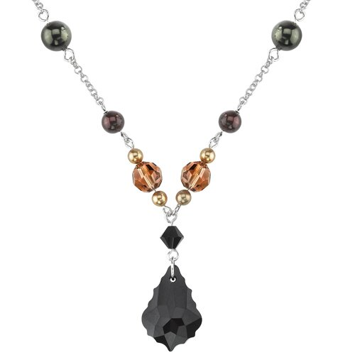 Earth Goddess Sterling Silver Charm Necklace with Swarovski Crystals and Cultured Pearls