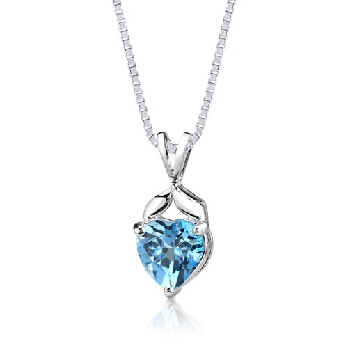3.00 cts Heart Shape Swiss Blue Topaz Pendant in Sterling Silver
