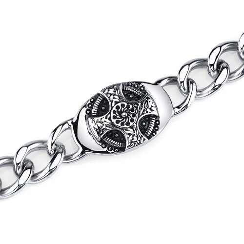 Thick and Heavy ID Style Celtic Cross Curb Chain Bracelet
