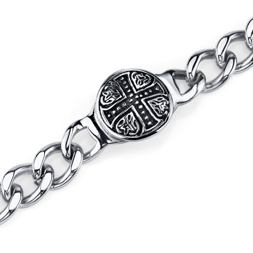 Rugged ID Style Celtic Cross Curb Chain Bracelet