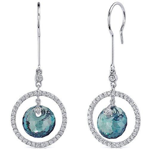 Oravo Spherical Cut Gemstone Circle of Life Dangle Earrings