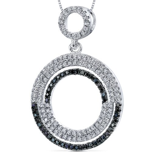 Black and White Cubic Zirconia Shimmering Circles Pendant