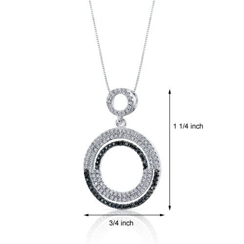 Oravo Black and White Cubic Zirconia Shimmering Circles Pendant