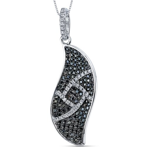 Black and White Cubic Zirconia Elegant Wave Pendant