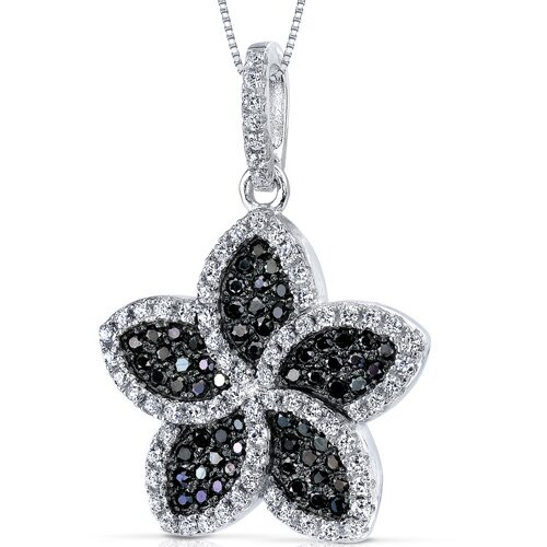 Black and White Cubic Zirconia Intricate Flower Pendant