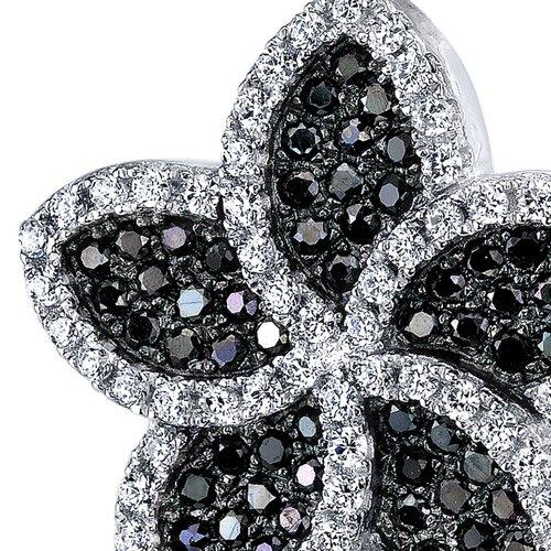 Oravo Black and White Cubic Zirconia Intricate Flower Pendant