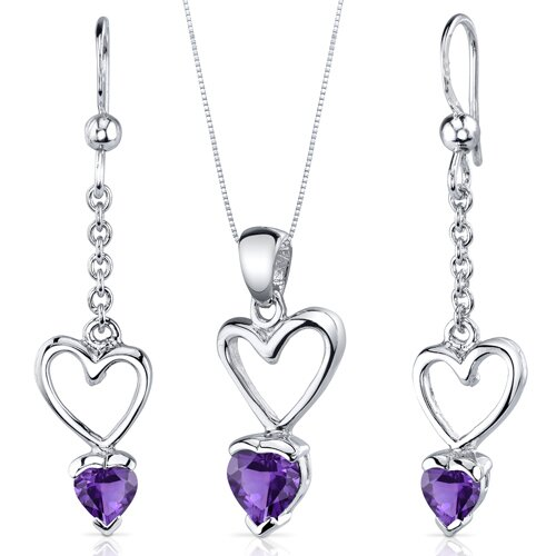 Heart Cut Gemstone Alluring Love Pendant Earrings Set