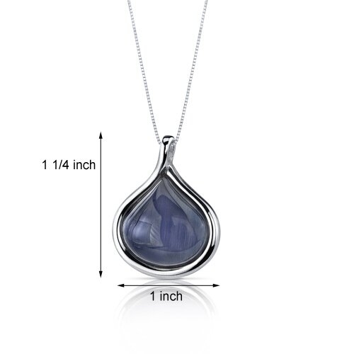 Oravo Cat's Eye Silver Chain Tear Drop Denim Blue Pendant