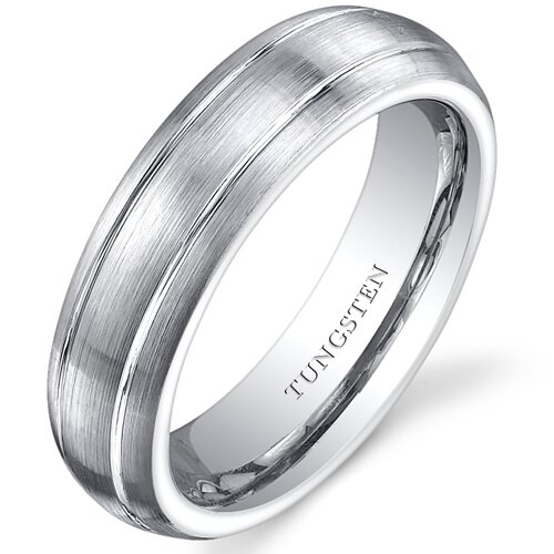Brushed Tungsten Double Groove Wedding Band