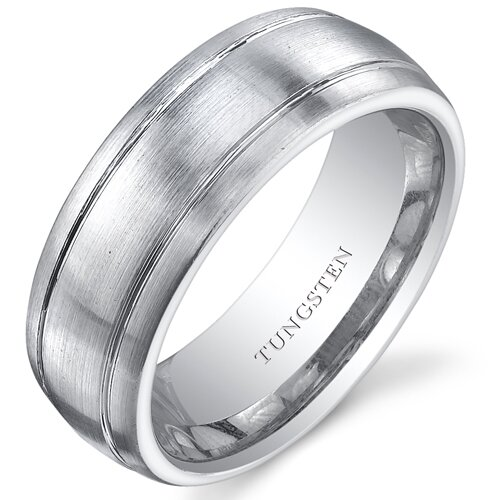 Oravo Men's Brushed Tungsten Double Groove Wedding Band