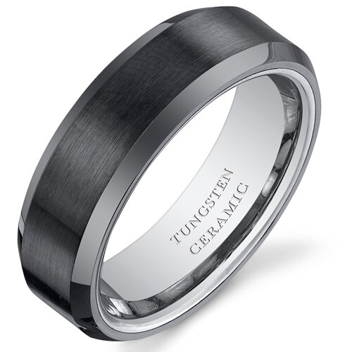 Men's Brushed Center Tungsten Ceramic Beveled Edge Wedding Band