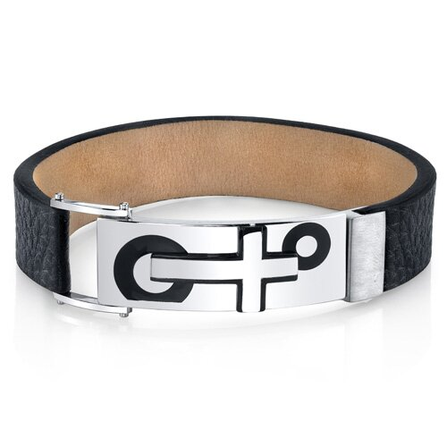 Men's Modern Cross Black Genuine Leather and Stainless Steel Bracelet