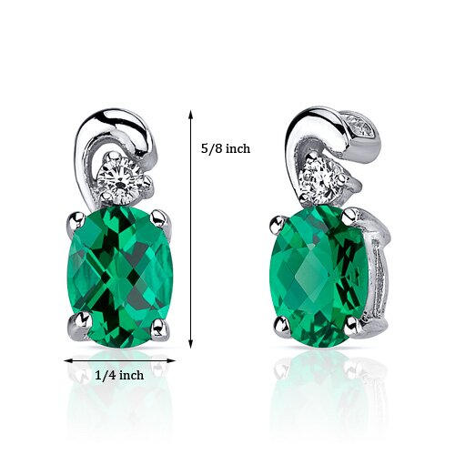 Oravo Sleek and Radiant 1.50 Carats Oval Cut Emerald Earrings