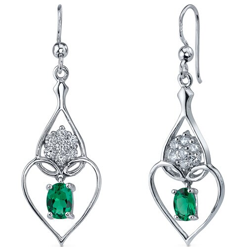 Oravo Illuminating Hearts 1.50 Carats Oval Cut  Emerald Dangle Earrings