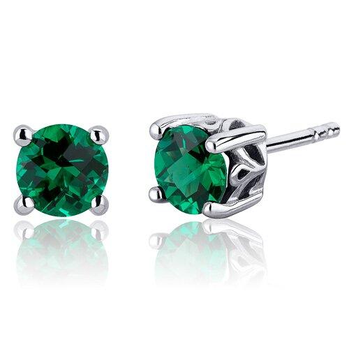 Oravo Scroll Design 1.50 Carats Round Cut Emerald Stud Earrings