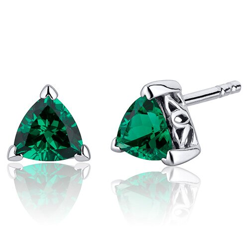 1.50 Carats Trillion Cut Emerald V Prong Stud Earrings