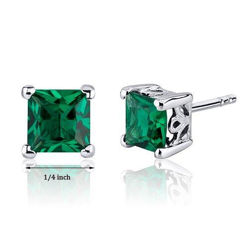 Oravo 2.00 Carats Princess Cut Emerald Scroll Design Stud Earrings