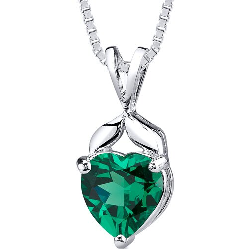 3.00 Carats Heart Cut Emerald Pendant