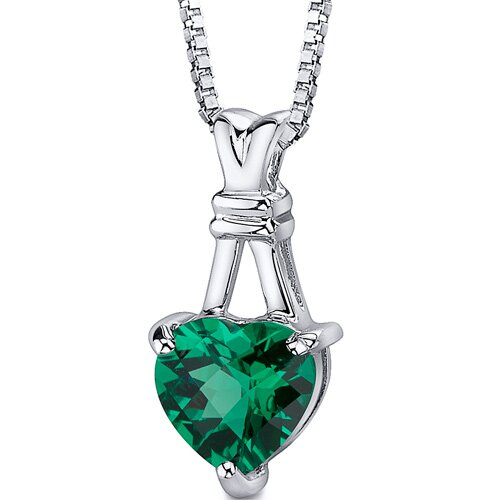 Passionate Pledge: Heart Shape Checkerboard Cut Emerald Pendant with 18