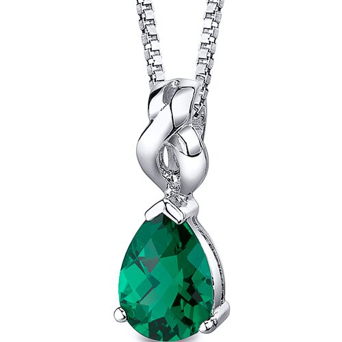 Pear Shape Checkerboard Cut Emerald Pendant with 18