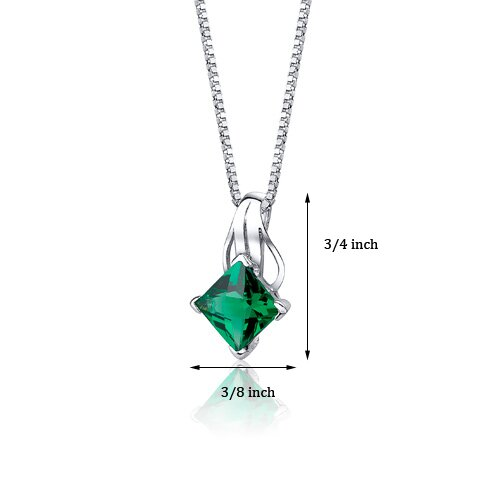 "Oravo 2.00 Carats Princess Checkerboard Cut Emerald Pendant with 18"" Necklace"