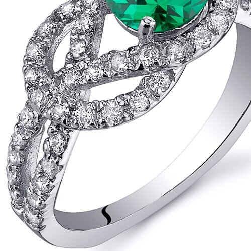Oravo Gracefully Exquisite 0.75 Carats Round Cut Emerald Ring