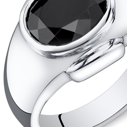 Oravo Men's Sterling Silver Oval Cut Onyx Ring