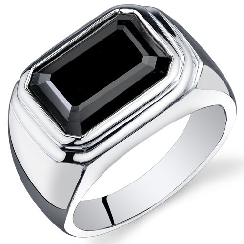 Men's Sterling Silver Octagon Cut Onyx Ring
