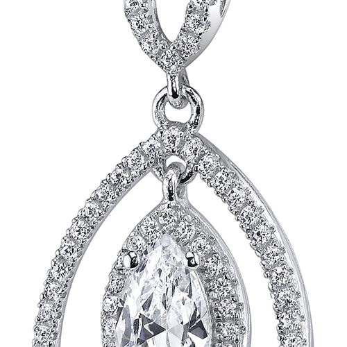 Oravo Sterling Silver Marquise Cut Cubic Zirconia Pendant Necklace