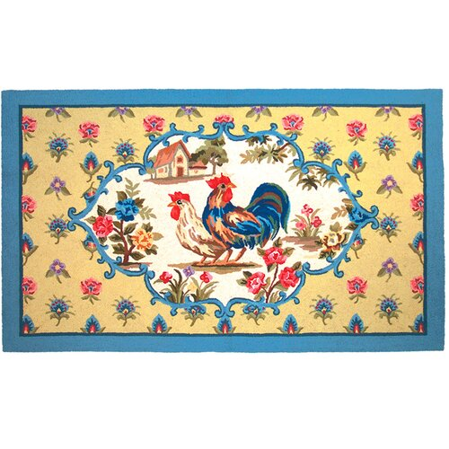 Floral Country Rooster Hooked Rug