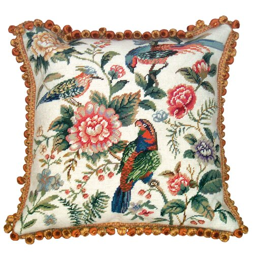 123 Creations Canton Garden 100% Wool Needlepoint Pillow
