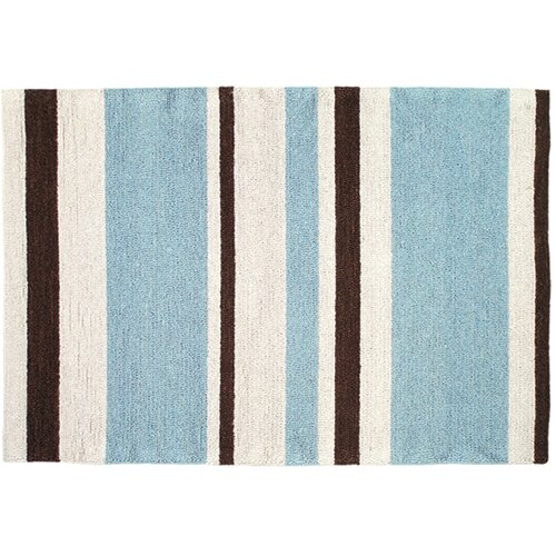 Modern Blue/Brown Striped Hook Rug