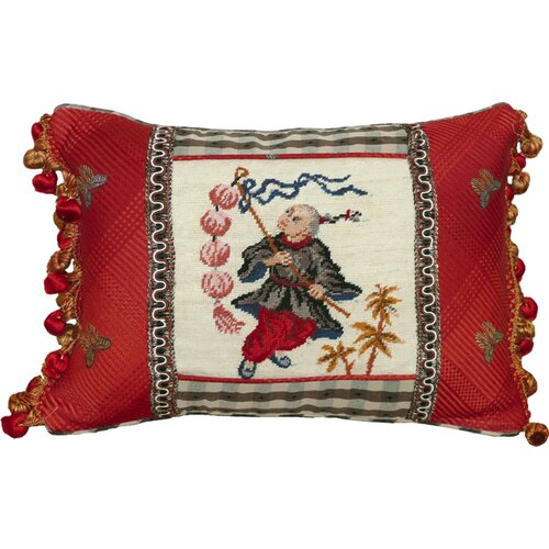 123 Creations Boy with Lantern Petit-Point Pillow with Fabric Trimmed
