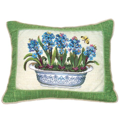 123 Creations Hyacinth in Pot 100% Wool Petit-Point Pillow with Fabric Trimmed