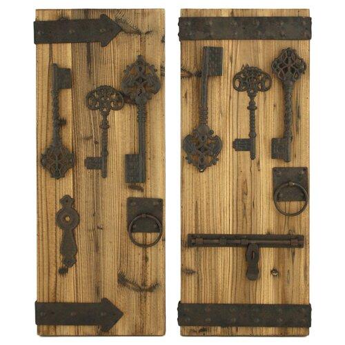 Rustic Wall Decor Set : Aspire donovan piece rustic key wall decor set reviews